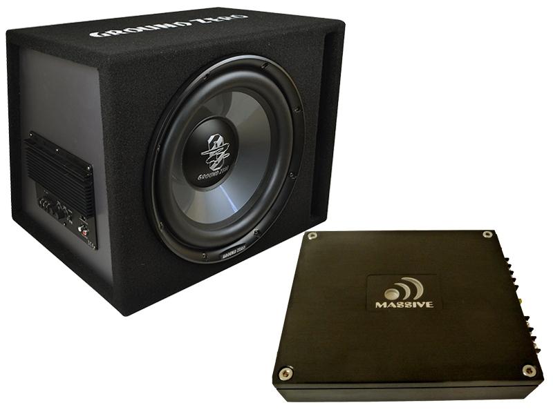 Auto Hifi Bass Anlage Komplett Set 800 Watt ESX Basskit HXP4 4-Kanal Basspaket